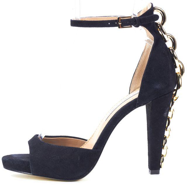 DIANE VON FURSTENBERG Black Suede Chain Back Sophia Sandal Heels