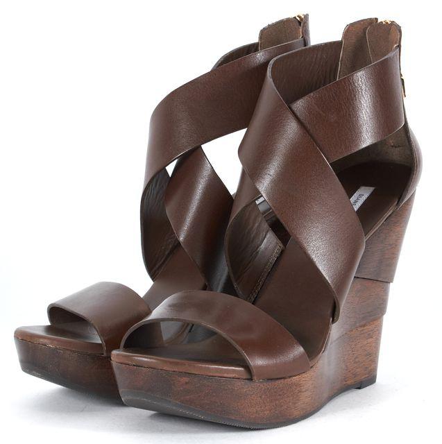 DIANE VON FURSTENBERG Brown Leather Wooden Wedge Sandals