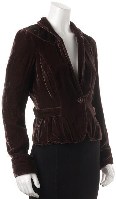 DIANE VON FURSTENBERG Chocolate Brown Velour Jemma Basic Jacket