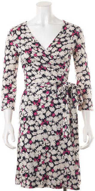 DIANE VON FURSTENBERG White Navy Pink Floral Silk Jersey Julian Wrap Dress