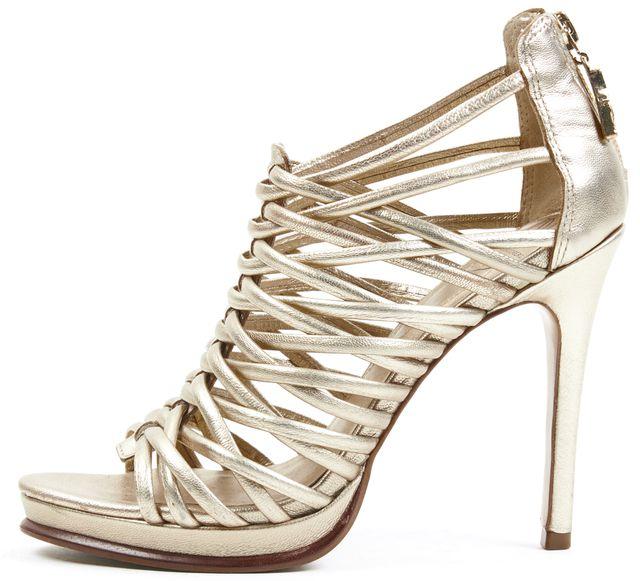 DIANE VON FURSTENBERG Gold Leather Caged Sandal Heels