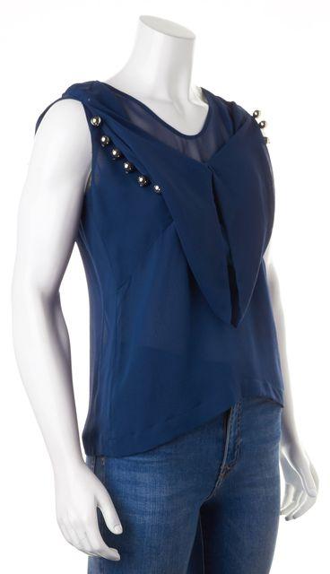 DIANE VON FURSTENBERG Blue Embellished Silk Amya Solid Sleeveless Blouse