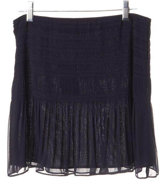 DIANE VON FURSTENBERG Navy Blue Pleated Micro Mini Skirt