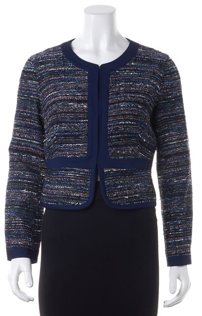DIANE VON FURSTENBERG Blue Tweed Cotton Blend Knit Basic Jacket