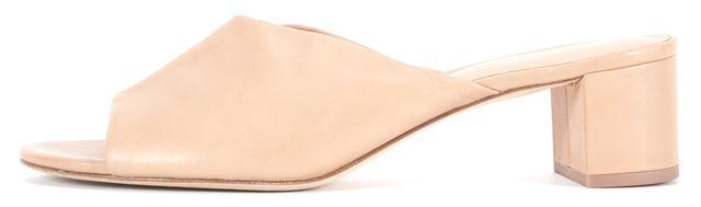 DIANE VON FURSTENBERG Beige Leather Faleria Heeled Sandal Mules