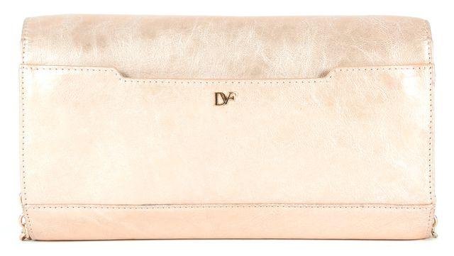 DIANE VON FURSTENBERG Gold Leather Carolina Lips Convertible Clutch