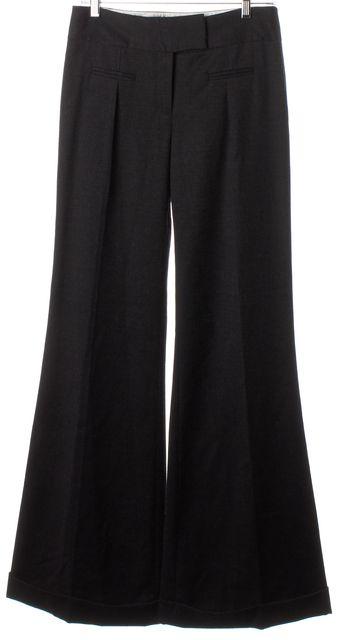 DIANE VON FURSTENBERG Dark Charcoal Gray Wool Flared Leg Cece Trouser Pants