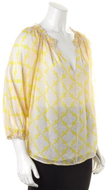 DIANE VON FURSTENBERG Yellow Beige Henna Diamonds Silk Bryn Blouse