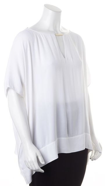 DIANE VON FURSTENBERG White Batwing Sleeves Oversized Beonica Top Blouse