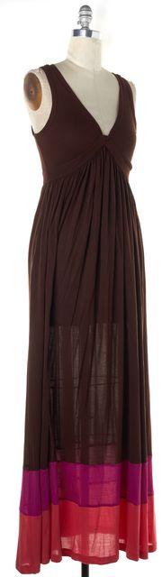 DIANE VON FURSTENBERG Brown Pink Striped Kiwana Long Maxi Dress