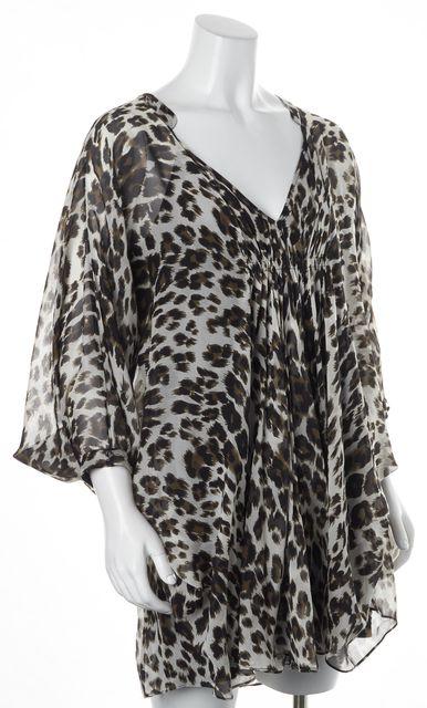 DIANE VON FURSTENBERG Beige Leopard Print Silk Fleurette Shift Dress