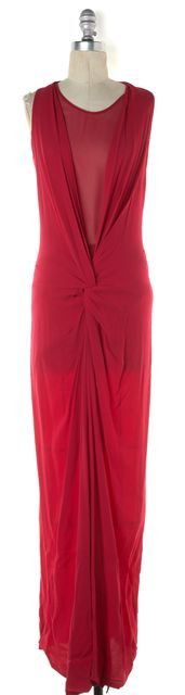 DIANE VON FURSTENBERG Magenta Pink Sleeveless Ruched Eileen Maxi Dress