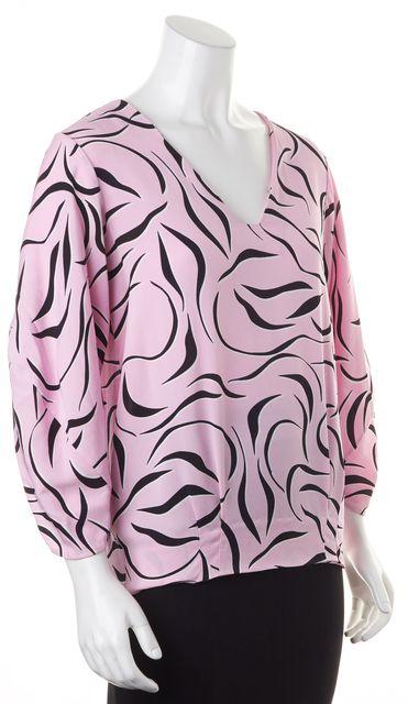 DIANE VON FURSTENBERG Pink Black 80s Print Blouse Top