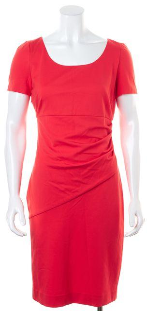 DIANE VON FURSTENBERG Orange Hot Coral Ruched Bevina Sheath Dress