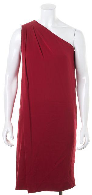DIANE VON FURSTENBERG Red Silk Liluye Pleated One Shoulder Dress