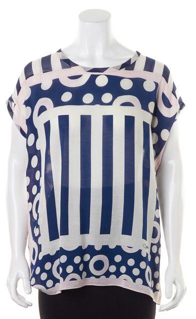 DIANE VON FURSTENBERG White Navy Pink Polka Dot Striped Camlin Tunic Top