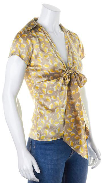 DIANE VON FURSTENBERG Beige Yellow Floral Silk Vespa Blouse Top