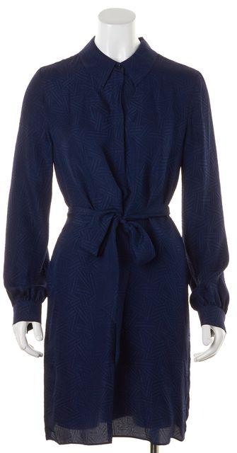 DIANE VON FURSTENBERG Blue Geometric Silk Seanna Blouson Dress