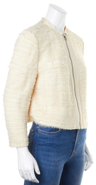 DIANE VON FURSTENBERG Ivory Silk Tiered Roccoco Armour Zip-Up Jacket