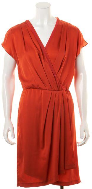 DIANE VON FURSTENBERG Sangria Red Silk Mateo Pleated Blouson Wrap Dress