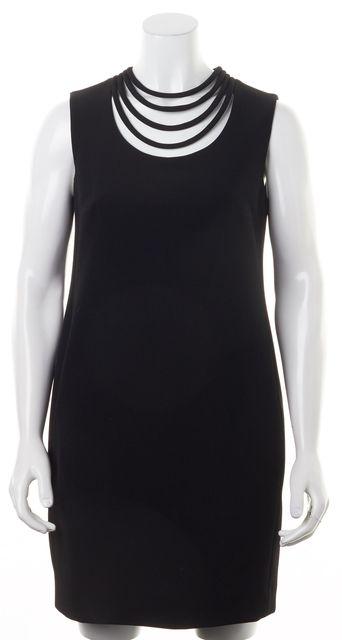 DIANE VON FURSTENBERG Black Solid Necklaced Noralie Shift Dress