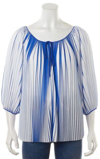 DIANE VON FURSTENBERG White Blue Striped Pleated Keoni Blouse