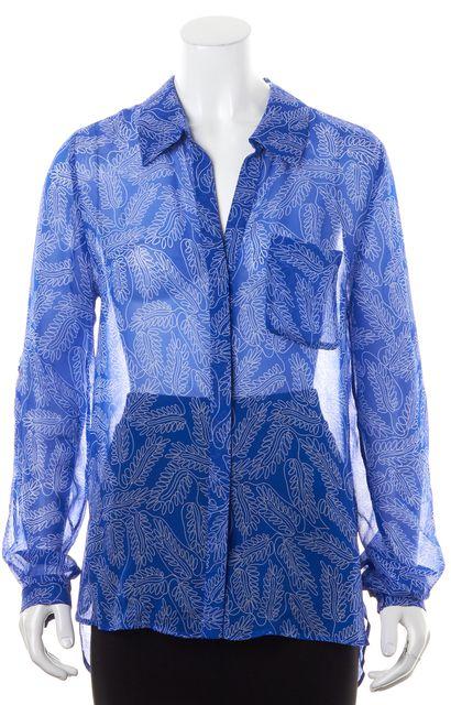 DIANE VON FURSTENBERG Blue White Sheer Button Down Shirt