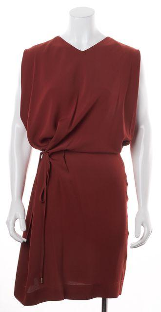 DIANE VON FURSTENBERG Terra-Cotta Red Crepe Silk Teresia Blouson Dress