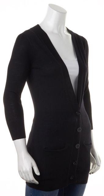 DIANE VON FURSTENBERG Black Merino Wool Joplin V-Neck Button Up Cardigan