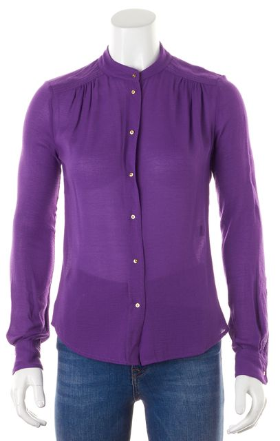 DIANE VON FURSTENBERG Purple Long Sleeve Gyls Blouse Top