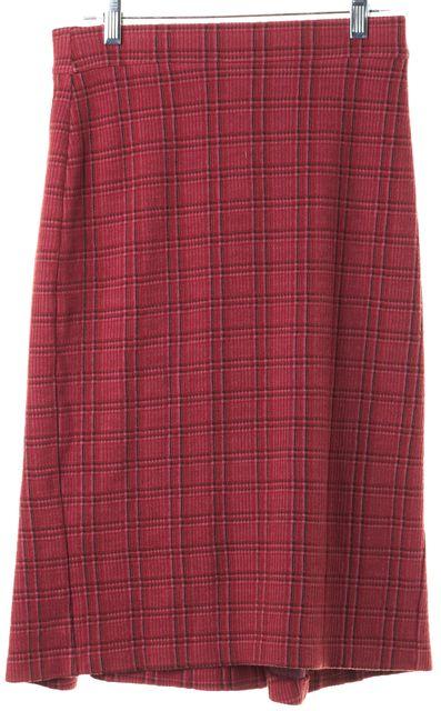 DIANE VON FURSTENBERG Red Plaid Stretch Cotton Trumpet Back Pencil Skirt