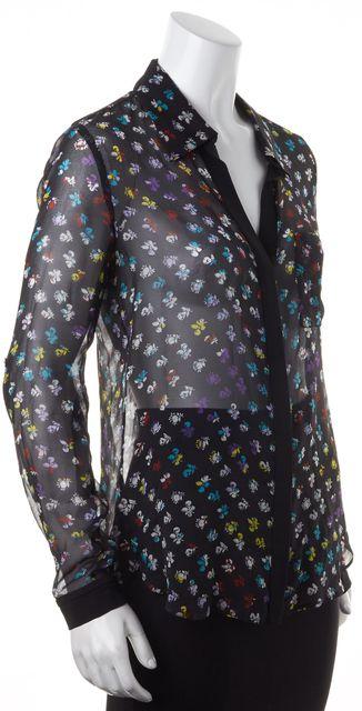 DIANE VON FURSTENBERG Black Multi-Color Sheer Silk Floral Lorelei Two Top