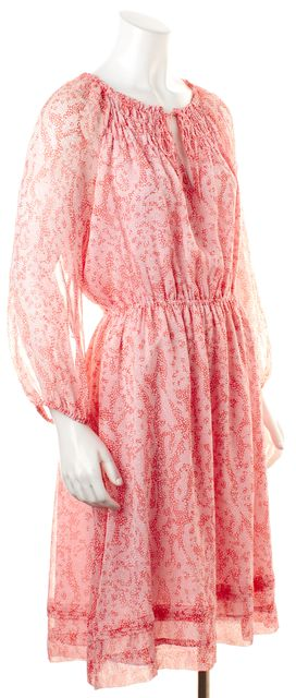 DIANE VON FURSTENBERG Pink Silk Abstract Dot Printed Parry Blouson Dress