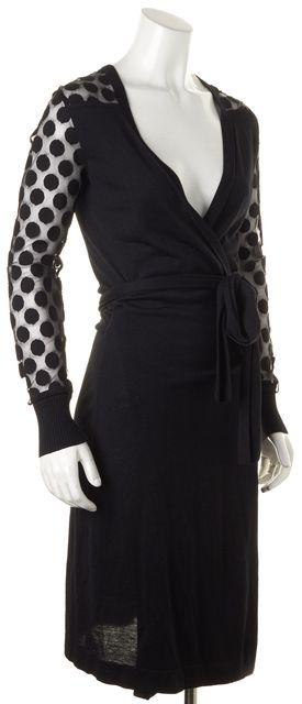DIANE VON FURSTENBERG Black Lace Silk Linda Wrap Dress