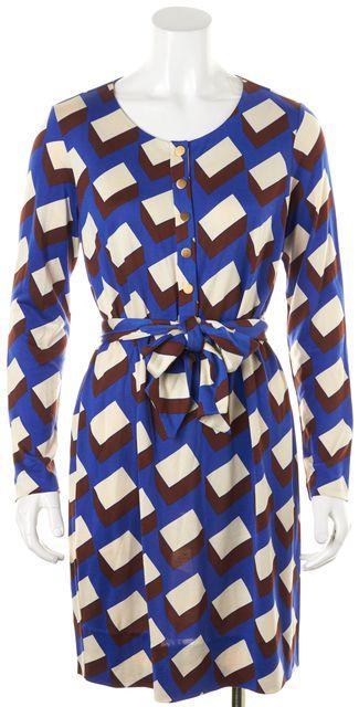 DIANE VON FURSTENBERG Blue Brown Ivory Geometric Silk Emsley Sheath Dress