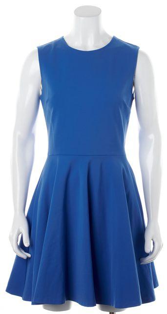 DIANE VON FURSTENBERG Blue Sleeveless Jeannie Fit & Flare Dress
