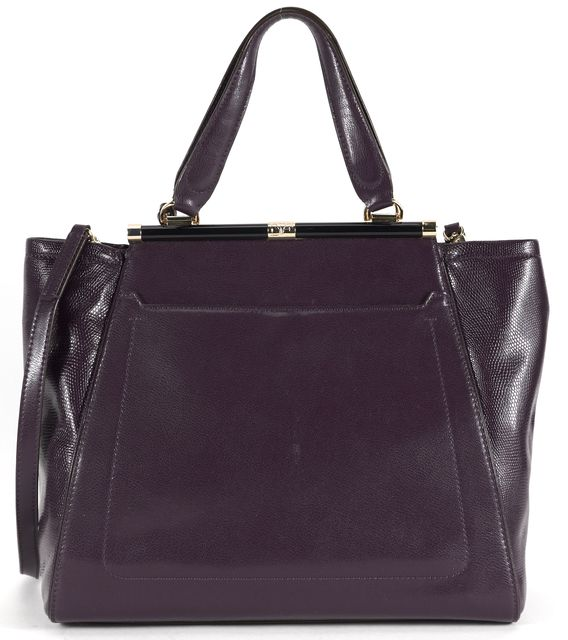 DIANE VON FURSTENBERG Purple Embossed Leather 440 Runaway Convertible Satchel