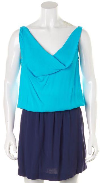 DIANE VON FURSTENBERG Blue Color Block Lou Blouson Dress