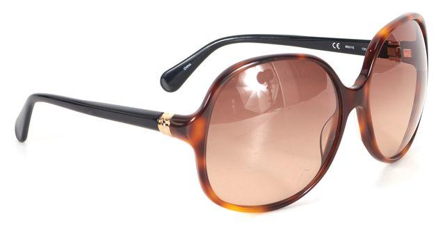DIANE VON FURSTENBERG Brown Black Tortoiseshell Marchon Round Sunglasses