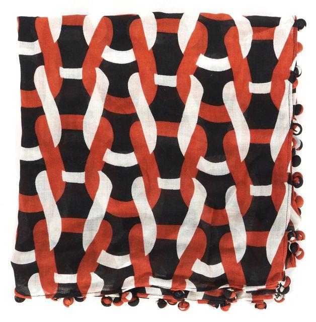 DIANE VON FURSTENBERG Red Black White Chain Knit Bubsy Day Scarf