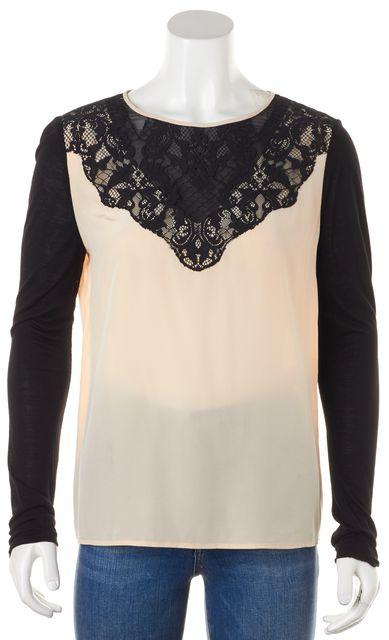 DIANE VON FURSTENBERG Beige Black Silk Color Block Lace Trim Top