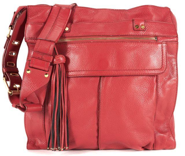 DIANE VON FURSTENBERG Red Leather Fringe Trim Adjustable Strap Elaine Tote