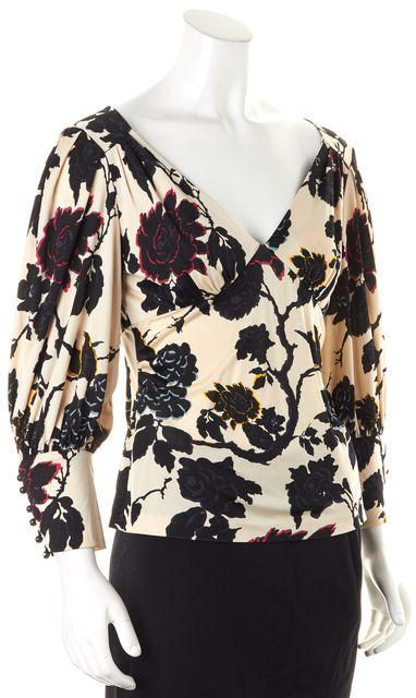 DIANE VON FURSTENBERG Ivory Black Floral V-Neck Puff Sleeves Blouse Top