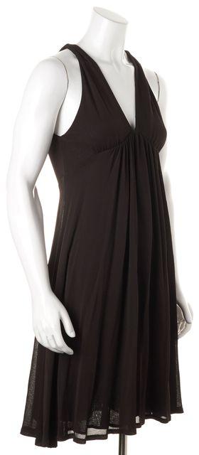 DIANE VON FURSTENBERG Brown Sleeveless Halter Empire Waist Dress