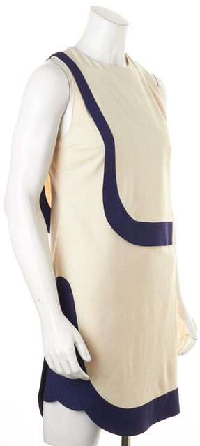 DIANE VON FURSTENBERG Ivory Navy Color Block Robi Shift Dress