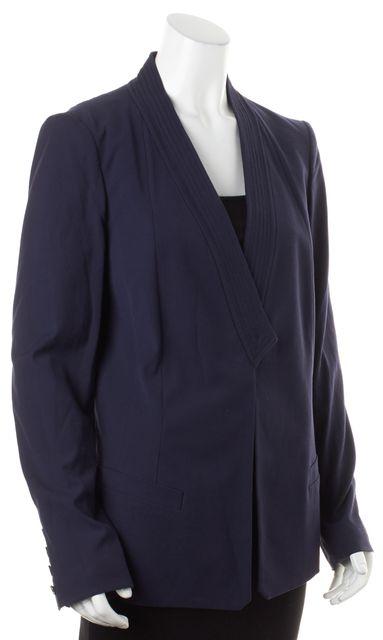DIANE VON FURSTENBERG Indigo Blue Geo Shawl Collar Blazer Jacket