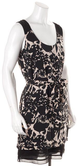 DIANE VON FURSTENBERG Black Beige Silk Floral Belted Alric Shift Dress