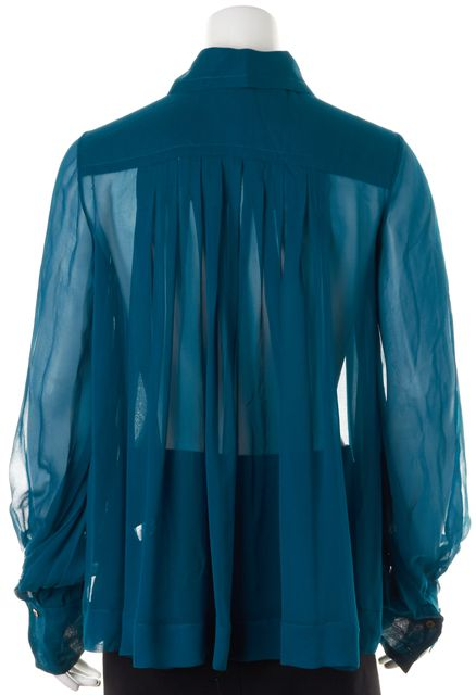DIANE VON FURSTENBERG Teal Blue Sheer Silk Pleated Abiba Voluminous Blouse