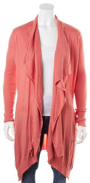 DIANE VON FURSTENBERG Coral Pink Silk Cashmere Cheva Long Open Cardigan
