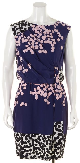 DIANE VON FURSTENBERG Blue Pink Abstract Silk Tamara Sheath Dress